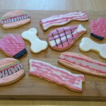 meat and BBQ themed birthday biscuits